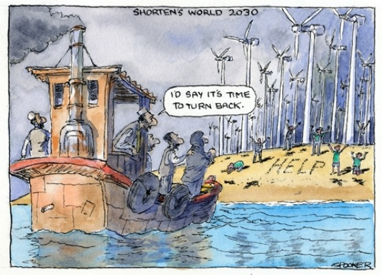 John Spooner, Refugees, Wind farms. Cartoon.