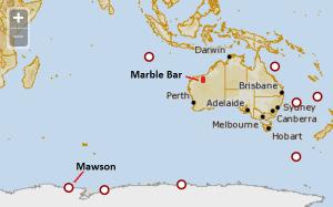 Map, Mawson, Antarctica, Australia, Marble Bar